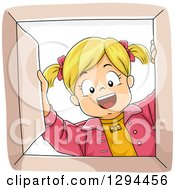 Clipart Of A Happy Blond White Girl Smiling Down Into A Box Royalty Free Vector Illustration