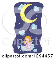 Clipart Of A Happy Red Haired White Girl In Pjs Swinging On A Cloud From A Crescent Moon Royalty Free Vector Illustration by BNP Design Studio
