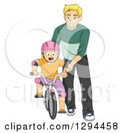 Clipart Of A Happy Blond Father Teaching His Son How To Ride A Bike Royalty Free Vector Illustration