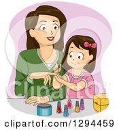 Clipart Of A Happy Brunette White Monther And Daughter Applying Nail Polish Royalty Free Vector Illustration by BNP Design Studio