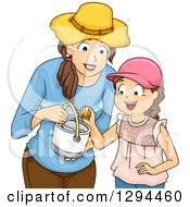 Clipart Of A Happy Brunette Mother And Daughter Collecting Shells At A Beach Royalty Free Vector Illustration