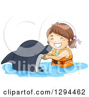 Happy Brunette White Girl Swimming With A Dolphin