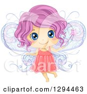 Clipart Of A Cute Purple Haired Blue Eyed White Female Fairy Holding A Magic Wand Royalty Free Vector Illustration