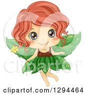 Clipart Of A Cute Red Haired Blue Eyed White Female Fairy With Leaf Wings Holding A Flower Magic Wand Royalty Free Vector Illustration