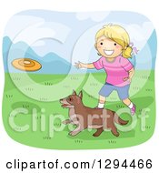 Clipart Of A Happy Blond White Girl Throwing A Frisbee For Her Dog In A Meadow Royalty Free Vector Illustration