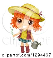 Happy Red Haired Brown Eyed White Girl Wearing A Sun Hat And Gardening With A Watering Can