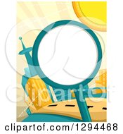Clipart Of A Round Blank Sign Or Magnifying Glass Against A Futuristic City And Sun Royalty Free Vector Illustration by BNP Design Studio
