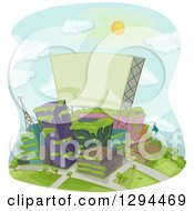 Clipart Of A Deserted Or Green City With Plants Overgrowing On The Buildings And A Blank Sign Royalty Free Vector Illustration
