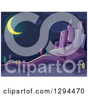 Clipart Of A Crescent Moon Shining Over A Dark City At Night Royalty Free Vector Illustration by BNP Design Studio