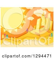 Clipart Of A Summer Sun Shining Over A City Royalty Free Vector Illustration
