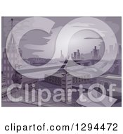 Clipart Of A Dark Apocalyptic City Royalty Free Vector Illustration