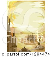 Clipart Of A Steampunk City In The Desert Royalty Free Vector Illustration