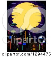 Clipart Of A Cyberpunk City With Rockets Against A Full Moon Royalty Free Vector Illustration