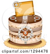 Clipart Of A Steampunk Themed Birthday Cake With Chains Gears And A Sign Royalty Free Vector Illustration by BNP Design Studio