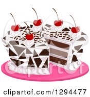Clipart Of A Cherry Topped Black Forest Cake On A Pink Platter Royalty Free Vector Illustration by BNP Design Studio