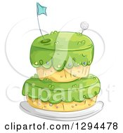 Clipart Of A Golf Course Themed Birthday Cake Royalty Free Vector Illustration by BNP Design Studio