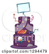Clipart Of A Purple Science Fiction Outer Space And Alien Birthday Cake Royalty Free Vector Illustration by BNP Design Studio