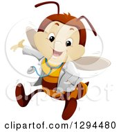 Clipart Of A Happy Presenting Bee Doctor Royalty Free Vector Illustration