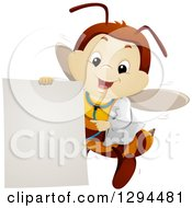 Clipart Of A Happy Bee Doctor Flying And Pointing To A Blank Sign Royalty Free Vector Illustration