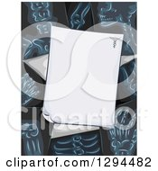 Clipart Of A Blank Prescription Page Over Xrays Royalty Free Vector Illustration
