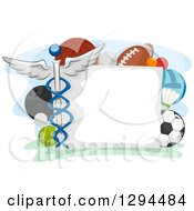 Blank Sign Bordered With Sports Balls And A Medical Caduceus