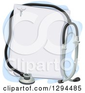 Clipart Of A Medical Or Veterinary Stethoscope Over A Blank Prescription Page Royalty Free Vector Illustration