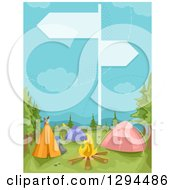 Clipart Of A Guide Sign Over A Camp Ground Royalty Free Vector Illustration