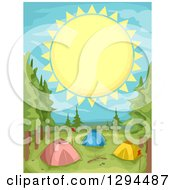 Clipart Of A Giant Sun Over Tents At A Camp Ground Royalty Free Vector Illustration