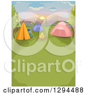 Clipart Of A Fire And Camp Site With Tents At Sunset Royalty Free Vector Illustration by BNP Design Studio