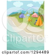 Clipart Of A Waterfront Beach Camp Site With A Fire And Tents Royalty Free Vector Illustration