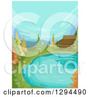 Clipart Of A Cabin At The Edge Of A Lake Or Pond With Autumn Trees Royalty Free Vector Illustration by BNP Design Studio