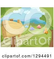 Clipart Of A Wooden Arrow Sign And Path Leading To A Camp Ground In A Valley Royalty Free Vector Illustration