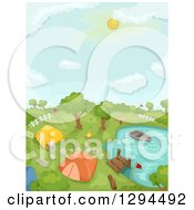 Clipart Of A Camp Ground Dock And Boat At A Lake Or Pond Royalty Free Vector Illustration by BNP Design Studio