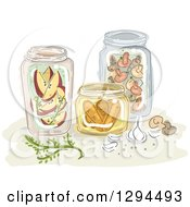 Clipart Of Sketched Jars Of Canned Apples Mushrooms And Carrots Royalty Free Vector Illustration by BNP Design Studio