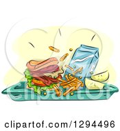 Clipart Of A Sketched Tray With A Brger Or Sandwich French Fries Fruit And Milk Royalty Free Vector Illustration