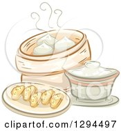 Clipart Of A Sketched Plate Of Dimsum And A Container Of Meat Buns Royalty Free Vector Illustration by BNP Design Studio
