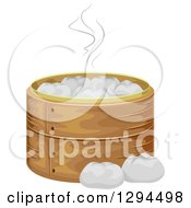 Clipart Of A Bamboo Steamer Basket With Meat Buns Royalty Free Vector Illustration by BNP Design Studio