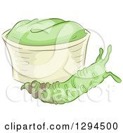 Clipart Of A Wasabi Root By A Bowl Of Paste Royalty Free Vector Illustration by BNP Design Studio