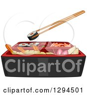 Clipart Of Chopsticks Holding A Sushi Roll Over Bento Royalty Free Vector Illustration by BNP Design Studio