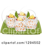 Clipart Of A Plate Of California Makizushi Sushi Rolls Royalty Free Vector Illustration
