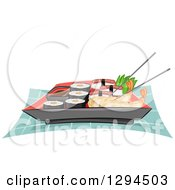 Clipart Of A Plate Of Chopsticks Shrimp Tempura Sushi And California Rolls Royalty Free Vector Illustration by BNP Design Studio