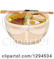Clipart Of A Pair Of Chopsticks Resting On Top Of A Bowl Of Ramen Noodles Royalty Free Vector Illustration by BNP Design Studio