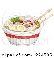 Clipart Of A Pair Of Chopsticks Resting On Top Of A Bowl Of Naruto Ramen Noodles Royalty Free Vector Illustration