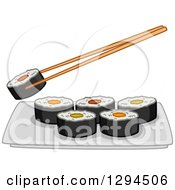 Clipart Of Chopsticks Holding A Roll Over A Plate Of Makizushi Sushi Royalty Free Vector Illustration by BNP Design Studio