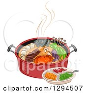 Clipart Of A Red Pot Full Of Ingredients And A Plate Royalty Free Vector Illustration