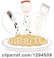 Clipart Of A Plate Of Noodles With Seasoning Packets Above Royalty Free Vector Illustration by BNP Design Studio