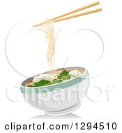 Clipart Of A Pair Of Chopsticks With Wonton Noodles Over A Bowl Royalty Free Vector Illustration by BNP Design Studio