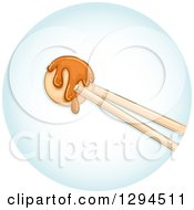 Clipart Of Chopsticks Holding A Piece Of Takoyaki In A Blue Circle Royalty Free Vector Illustration by BNP Design Studio