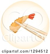 Clipart Of Chopsticks Holding A Piece Of Tempura Shrimp In An Orange Circle Royalty Free Vector Illustration