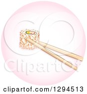 Clipart Of Chopsticks Holding A Piece Of California Maki Roll Sushi In A Pink Circle Royalty Free Vector Illustration by BNP Design Studio